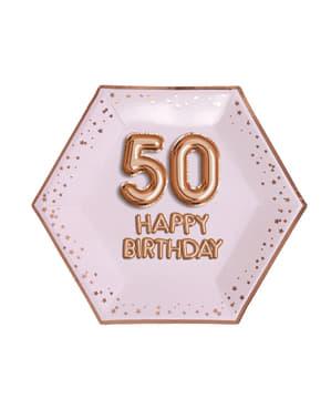 """8 """"50 Happy Birthday"""" kuusikulmaista paperilautasta – Glitz & Glamour Pink & Rose Gold"""