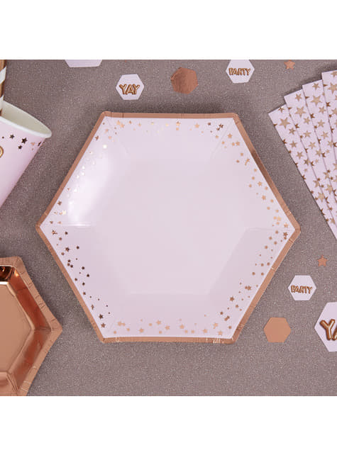 Set of 8 medium hexagonal paper plates - Glitz & Glamour Pink & Rose Gold