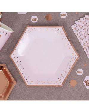 8 papperstallrikar hexagonala mellanstorlek  (20 cm) - Glitz & Glamour Pink & Rose Gold