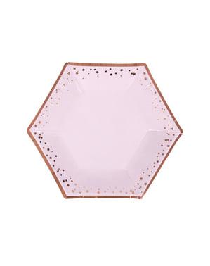 8 medium sekskantede papirtallerkener - Glitz & Glamour Rosa & Rosegull