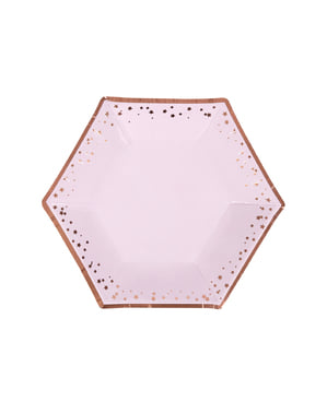 8 medium hexagonal paper plate (20 cm) - Glitz & Glamour Pink & Rose Gold