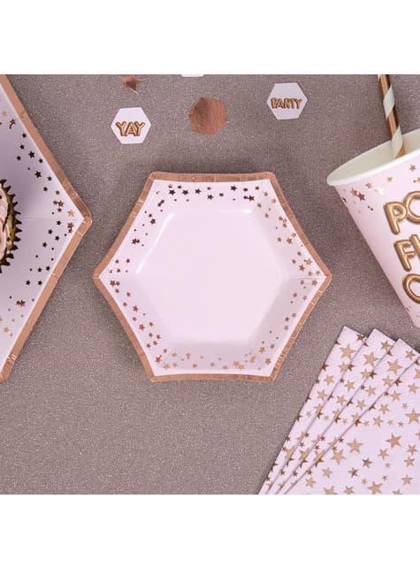 8 hexagonal paper plate (12,5 cm) - Glitz & Glamour Pink & Rose Gold Plate