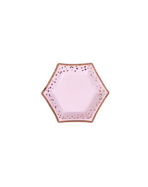 8 sekskantede papirtallerkener - Glitz & Glamour Rosa & Rosegull Plate