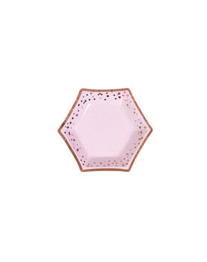8 papperstallrikar hexagonala  (12,5 cm) - Glitz & Glamour Pink & Rose Gold Plate