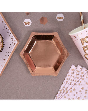 गुलाब सोने में 8 हेक्सागोनल पेपर प्लेटों का सेट - ग्लिट्ज़ और ग्लैमर पिंक और रोज़ गोल्ड