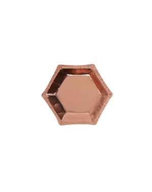 8 piatti esagonali in oro rosa di cart (12,5 cm) - Glitz & Glamour Pink & Rose Gold