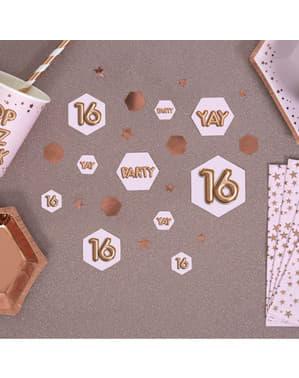 """Pöytäkonfetti """"16"""" - Glitz & Glamour Pink & Rose Gold"""