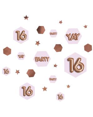 "Konfetti na stół ""16"" - Glitz & Glamour Pink & Rose Gold"