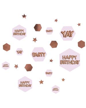 """Pöytäkonfetti """"Happy Birthday"""" - Glitz & Glamour Pink & Rose Gold"""