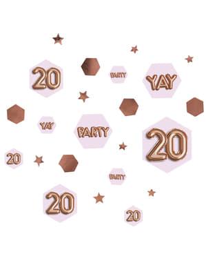 """Pöytäkonfetti """"20"""" - Glitz & Glamour Pink & Rose Gold"""