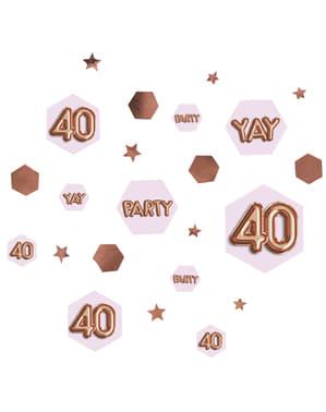 "Konfetti na stół ""40"" - Glitz & Glamour Pink & Rose Gold"