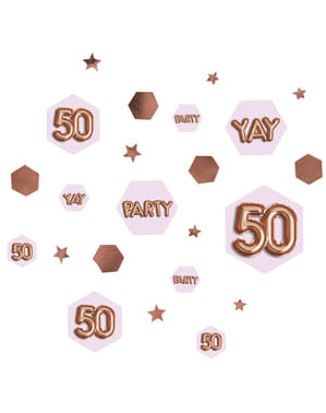"Konfetti na stół ""50"" - Glitz & Glamour Pink & Rose Gold"