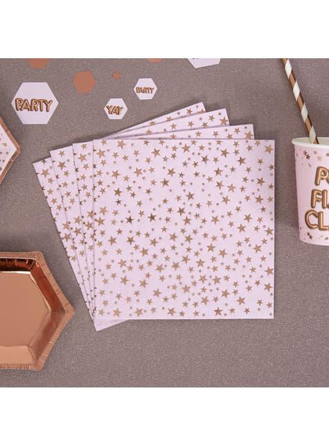Conjunto de 16 guardanapos de papel - Glitz & Glamour Pink & Rose Gold