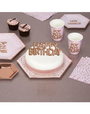 "Dekoracja ciasta ""Happy Birthday"" rose gold - Glitz & Glamour Pink & Rose Gold"
