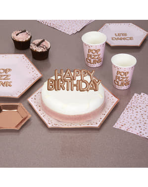 "Kakunkoriste ""Happy Birthday"" ruusukultainen – Glitz & Glamour Pink & Rose Gold"