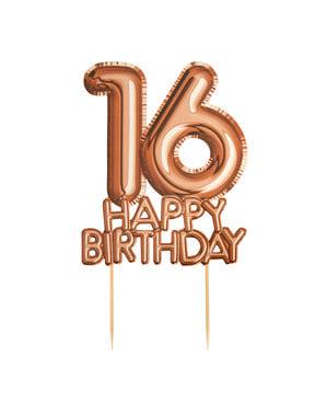 ローズゴールドのケーキデコレーション「16 Happy Birthday」 - グリッツ&グラマーピンク&ローズゴールド
