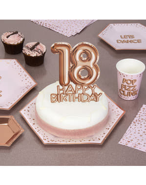 "Kakunkoriste ""18 Happy Birthday"" ruusukultainen – Glitz & Glamour Pink & Rose Gold"