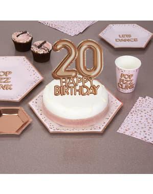 "Dekoracja ciasta ""20 Happy Birthday"" rose gold - Glitz & Glamour Pink & Rose Gold"
