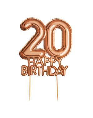 ローズゴールドのケーキデコレーション「20 Happy Birthday」 - グリッツ&グラマーピンク&ローズゴールド