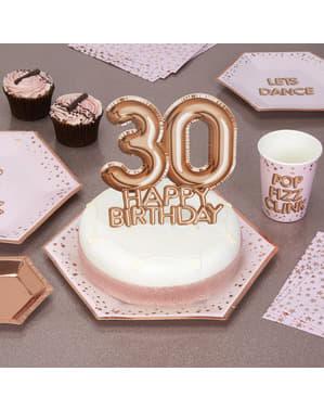 "Kakunkoriste ""30 Happy Birthday"" ruusukultainen – Glitz & Glamour Pink & Rose Gold"