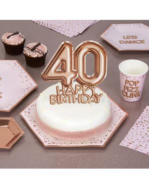 "Kakunkoriste ""40 Happy Birthday"" ruusukultainen – Glitz & Glamour Pink & Rose Gold"