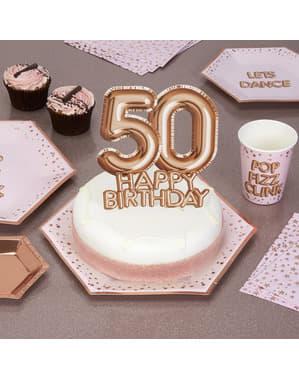 ローズゴールドのケーキデコレーション「50 Happy Birthday」 - グリッツ&グラマーピンク&ローズゴールド