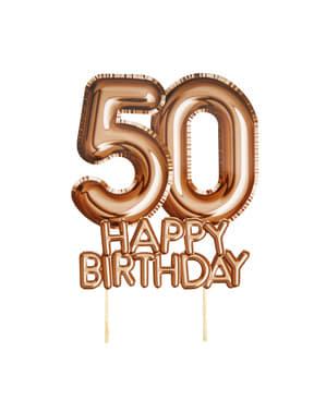 "Dekoracja ciasta ""50 Happy Birthday"" rose gold - Glitz & Glamour Pink & Rose Gold"