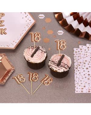 "Zestaw 20 dekoracje na patyku ""18"" rose gold - Glitz & Glamour Pink & Rose Gold"