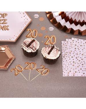 "Zestaw 20 dekoracje na patyku ""20"" rose gold - Glitz & Glamour Pink & Rose Gold"