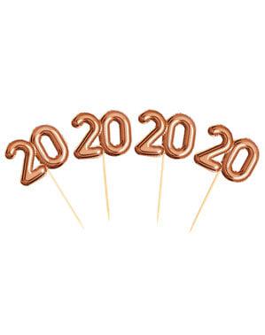 """ローズゴールド - グリッツ&グラマーピンク&ローズゴールドの20 """"20""""装飾つまようじのセット"""