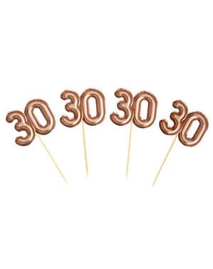 "Zestaw 20 dekoracje na patyku ""30"" rose gold - Glitz & Glamour Pink & Rose Gold"