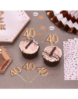 "Zestaw 20 dekoracje na patyku ""40"" rose gold - Glitz & Glamour Pink & Rose Gold"