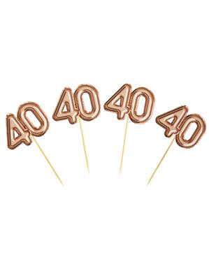"""20 """"40 somistehammastikkuja ruusukultaisena – Glitz & Glamour Pink & Rose Gold"""