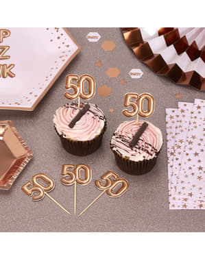 "Zestaw 20 dekoracje na patyku ""50"" rose gold - Glitz & Glamour Pink & Rose Gold"