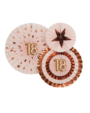 """3 """"18"""" válogatott díszített rajongó készlet - Glitz & Glamour Pink & Rose Gold"""