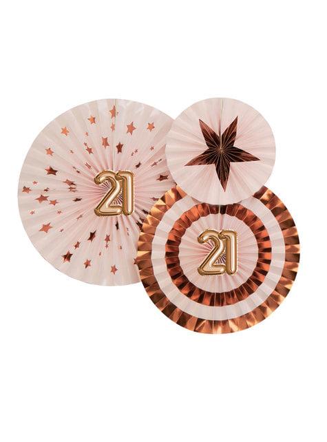 3 Leques de papel decorativos variados