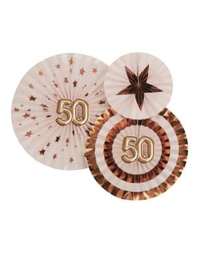 """Sada 3 """"50"""" dekoratívnych ventilátorov - Glitz & Glamour Pink & Rose Gold"""