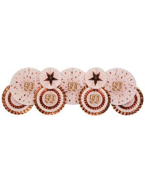 """Komplet 3 """"50"""" izbranih okrašenih navijačev - Glitz & Glamour Pink & Rose Gold"""