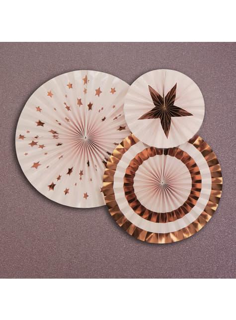 3 assorted decorative fan (21-26-30 cm) - Glitz & Glamour Pink & Rose Gold