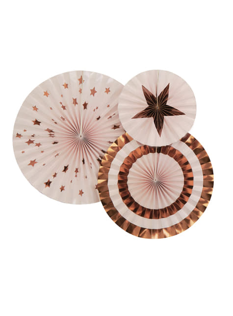 3 Abanicos de papel decorativos variados (21-26-30 cm) - Glitz & Glamour Pink & Rose Gold - para tus fiestas