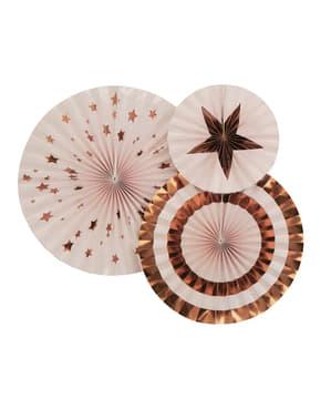 3 Leques de papel decorativos variado (21-26-30 cm) - Glitz & Glamour Pink & Rose Gold