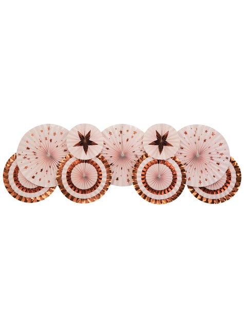3 Abanicos de papel decorativos variados (21-26-30 cm) - Glitz & Glamour Pink & Rose Gold - barato