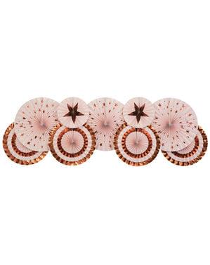 3 Abanicos de papel decorativos variados (21-26-30 cm) - Glitz & Glamour Pink & Rose Gold