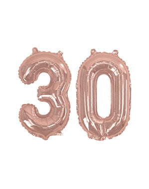 Ballon anniversaire 30 ans femme rose gold (40 cm) - Glitz & Glamour Pink & Rose Gold