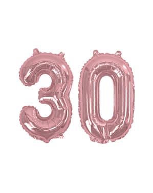"Folioilmapallo ""30"" ruusukultaisena – Glitz & Glamour Pink & Rose Gold 40cm"