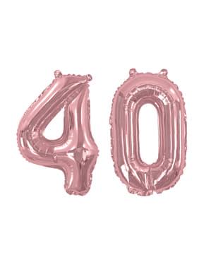 "Folioilmapallo ""40"" ruusukultaisena – Glitz & Glamour Pink & Rose Gold 40cm"