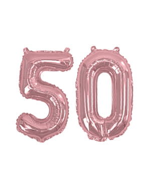 Ballon anniversaire 50 ans femme rose gold (40 cm) - Glitz & Glamour Pink & Rose Gold