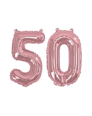 "Folioilmapallo ""50"" ruusukultaisena – Glitz & Glamour Pink & Rose Gold 40cm"