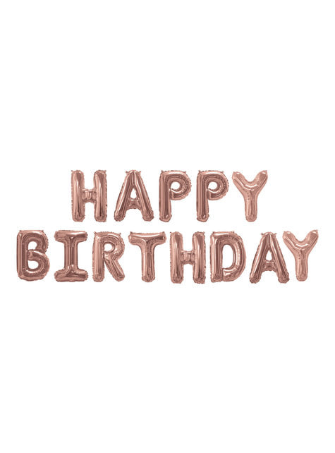 "Folioilmapallo ""Happy Birthday"" ruusukultaisena – Glitz & Glamour Pink & Rose Gold"