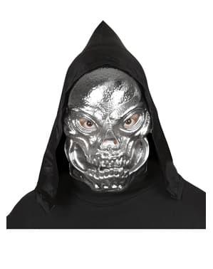 Máscara de calavera metalizada con capucha